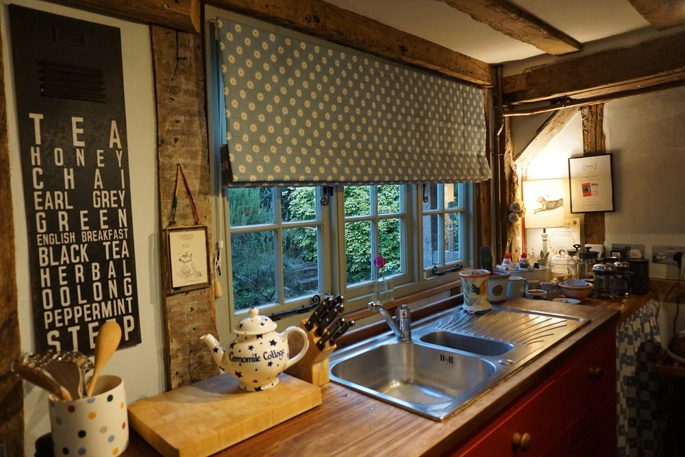 Lovely new blind in Camomile Cottage B & B Kitchen
