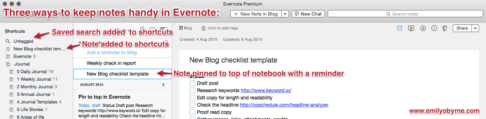 Three ways to pin your favourite Evernotes.