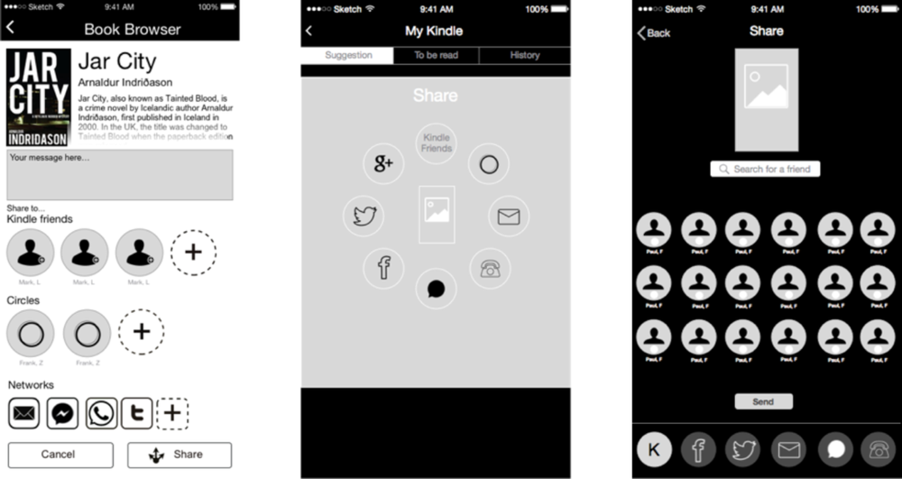 Wireframe iterations of the share feature