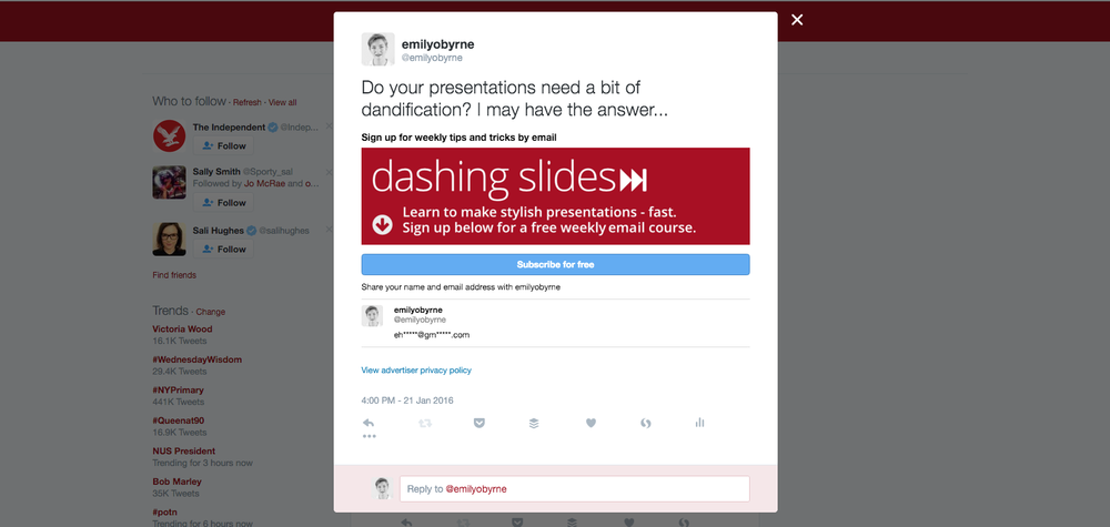 An example of a Twitter Card for collecting emails - a Lead Generation card