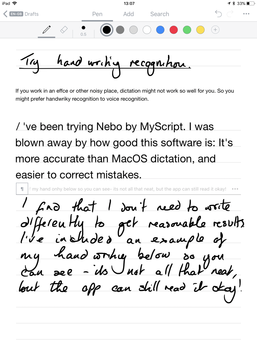 Reduce wrist pain with handwriting recognition software - I used Nebo to write this article.