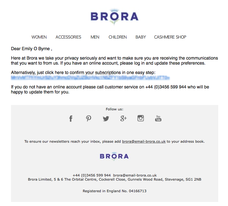 A list cleaning email from Brora