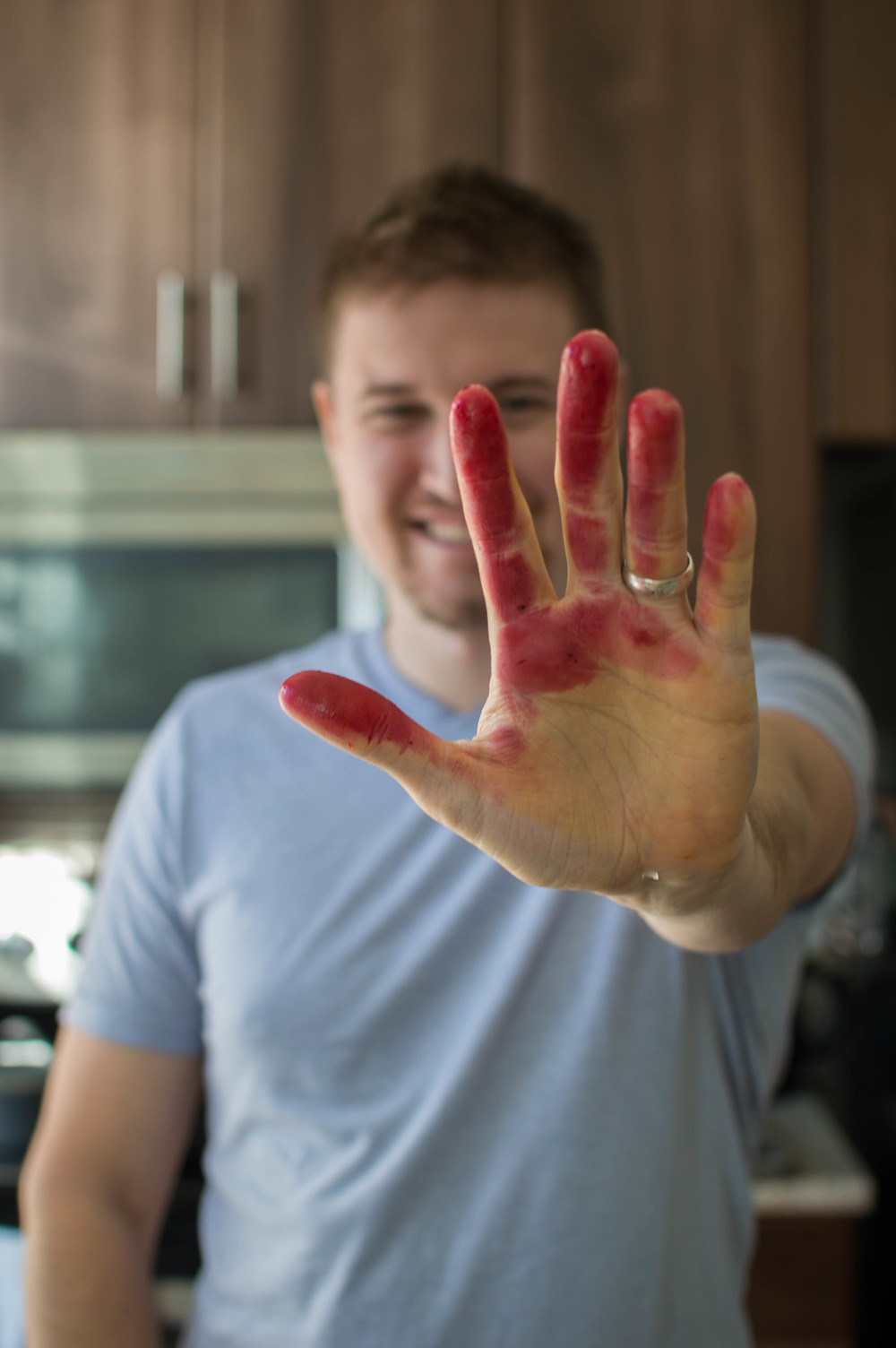 Beet juice on Rob's hands makes this picture a little creepy but it's my favorite one from Thanksgiving!