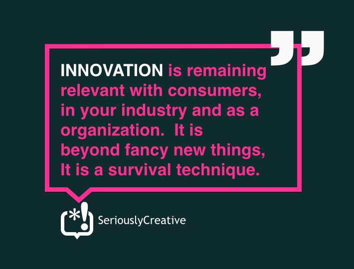 Innovation is the over used, little understood catch all phrase for being creative in business. But it is more than that and much more complex to do. It is about corporate policies, company culture, defined strategies, approach and process, time allocation, being willing to say 'yes' when others say 'no' and 'no' when others say 'yes'. It is tools, skills and technique. It is the production line of new value and competitive advantage. It takes effort, attention, investment and aggressive dedication to resisting mediocrity in management. It can be learned, harnessed and made more reliable. What it is not is optional, something you start doing when you have tried everything else, an objective or this year's business planning, something that just happens or a assignment for a committee.