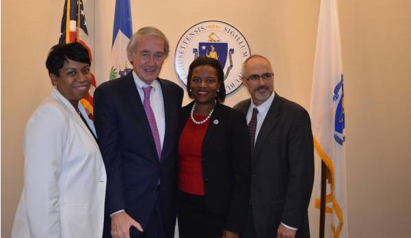 Nadia Raymond, EQ Board Member (L) with Senator Ed Markey, Senator Linda Forry, and IJDH's Brian Concannon