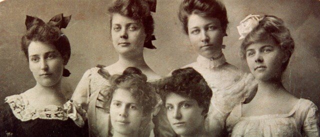 The six founders of Delta Zeta: Alfa Lloyd, Mabelle Minton, Anne Simmons, Anna Keen, Julia Bishop and Mary Collins.