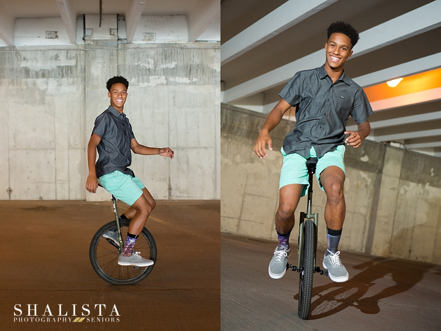 Senior portraits unicycle