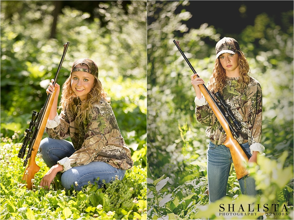 Senior girl hunting poses, senior girl with gun