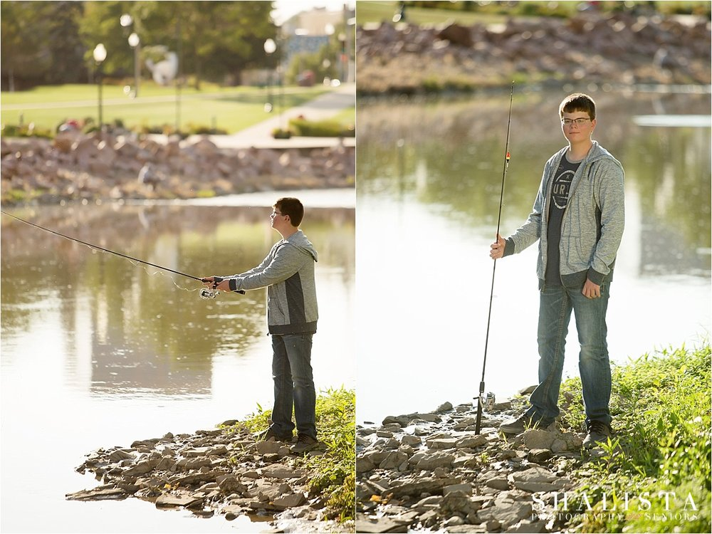 Senior boy fishing in river