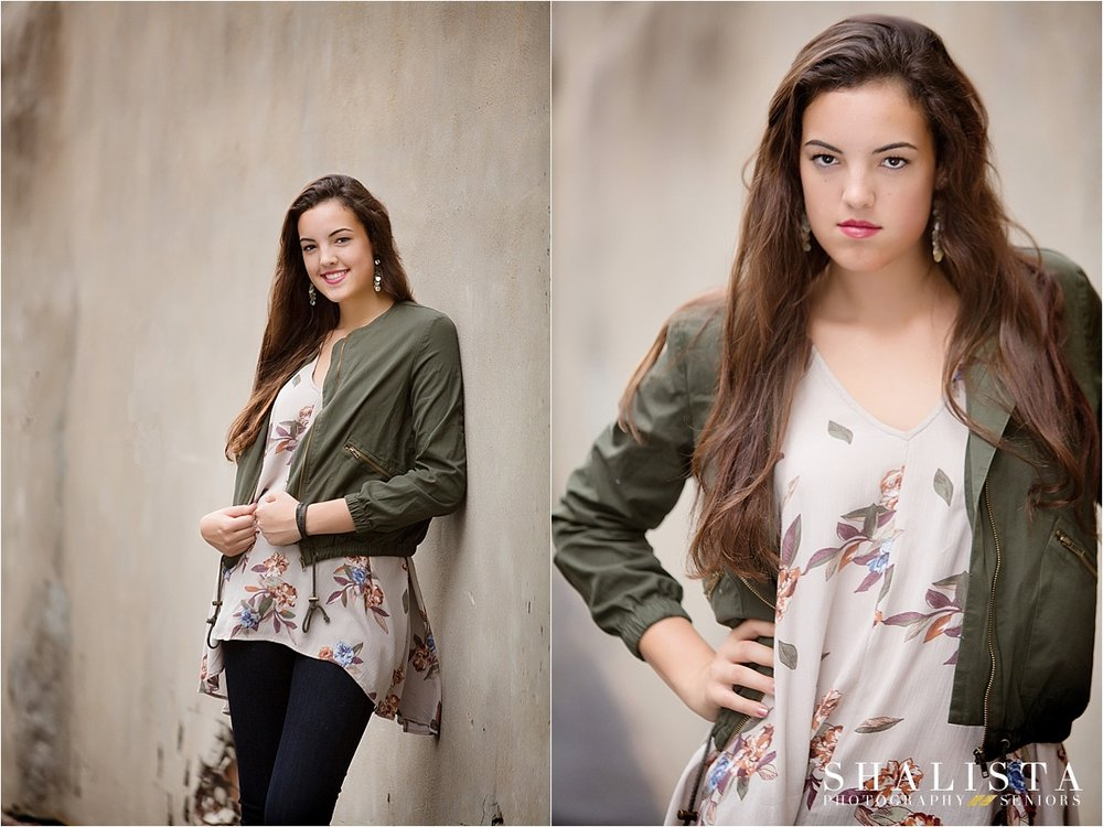 urban Senior portraits, green jacket