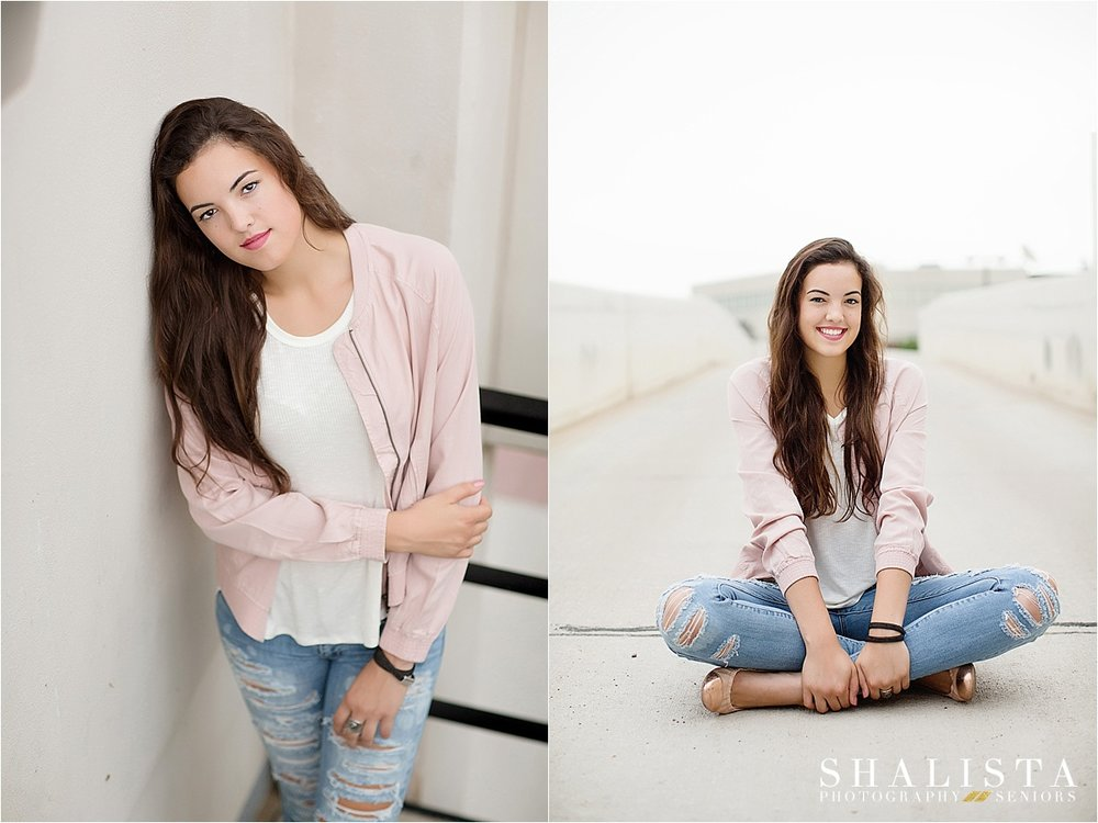 Senior girl in pink leather jacket