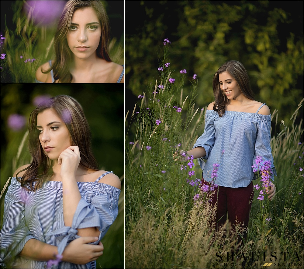 Outdoor Senior Girl Poses in purple wildflowers