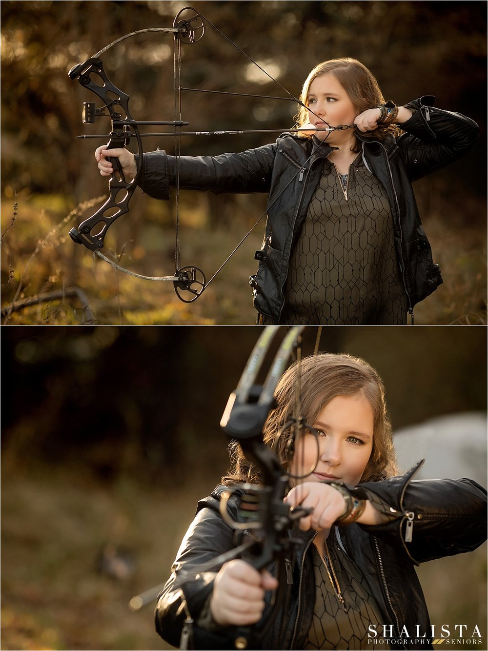 Senior Girl with Bow and Arrow, hunting senior girl photos