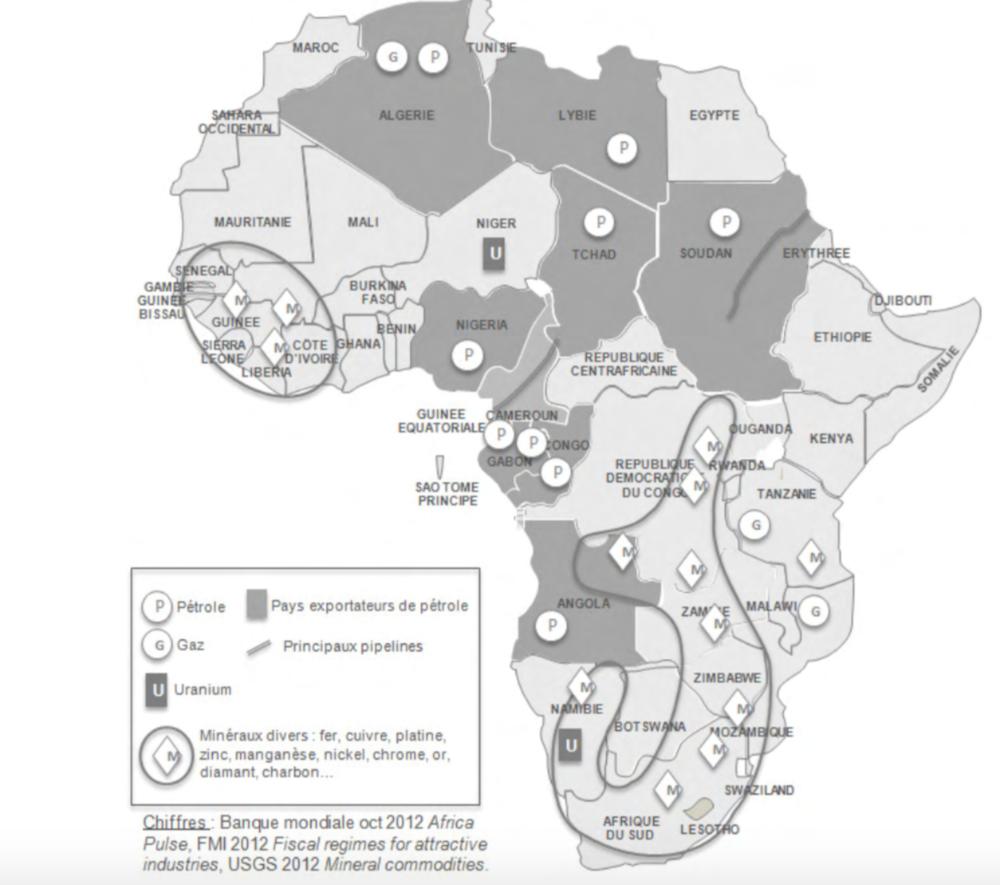Carte 1: Minerais et hydrocarbures an Afrique