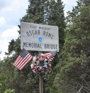 The Oscar Rome Memorial Bridge on Pilgrims Highway in Massachusetts