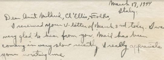 The first paragraph of Oscar's last letter home, dated two days before his death