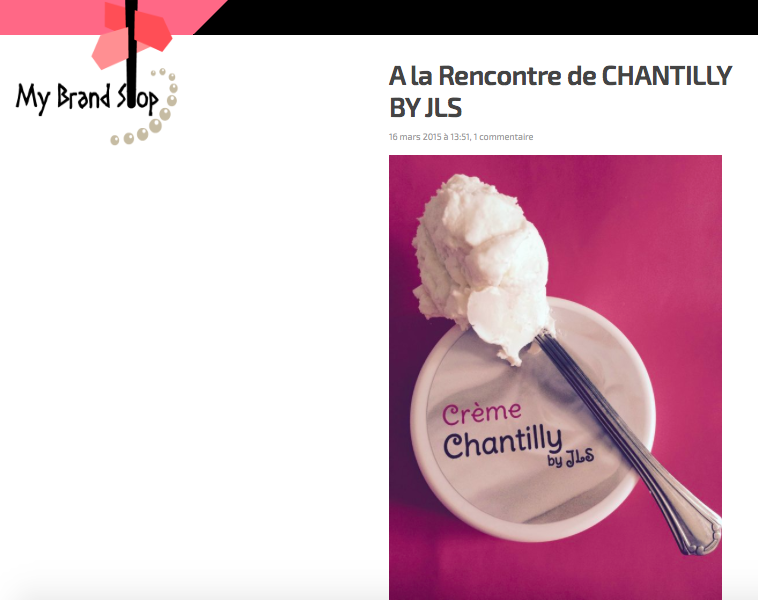 My BRAND STOP PARLE DE CHANTILLY BY JLS