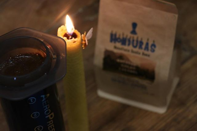 Afternoon Aeropress by candle light - FRESH ROASTS of Honduras and other coffees back in stock! STILL AVAILABLE, our twin packs of Hand Made 100% Beeswax and Organic Coffee Candle!