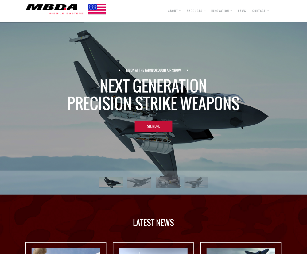 Redesigned MBDA website