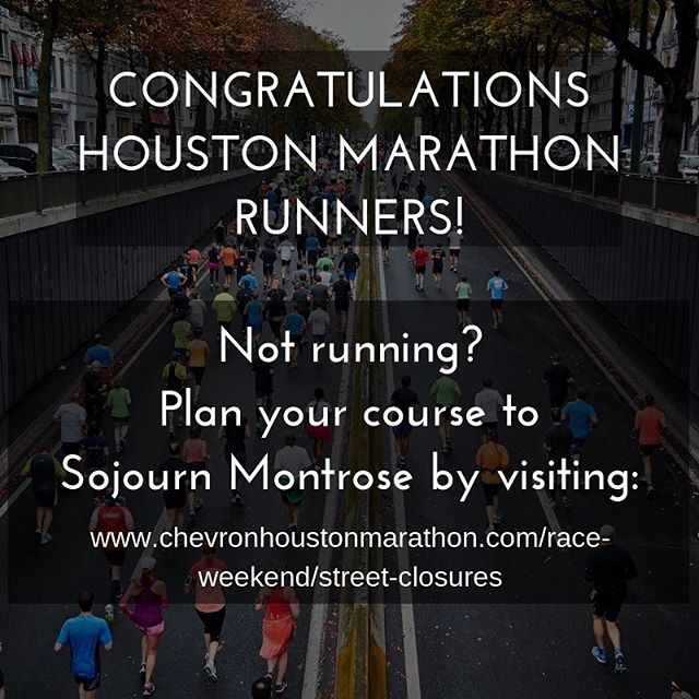Plan your route to Sojourn Montrose tomorrow! We meet on Sundays at 10am at 2009 W. Gray -  visit www.chevronhoustonmarathon.com/race-weekend/street-closures for a complete list of open routes and closures!