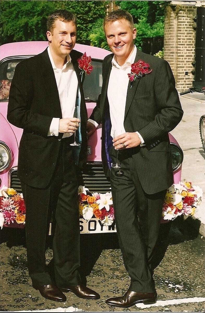 paul-lance-civil-partnership-gay-brown-pin-stripe-herringbone-bespoke-all-uk-made-wedding.jpg