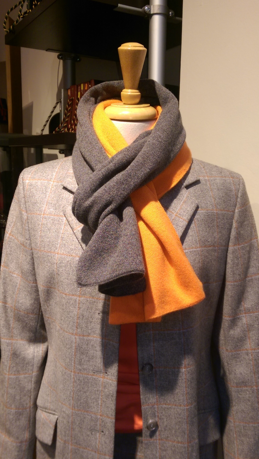 grey-checked-jacket-ladies-cashmere-scarf-bespoke-all-uk-made-orange.jpg