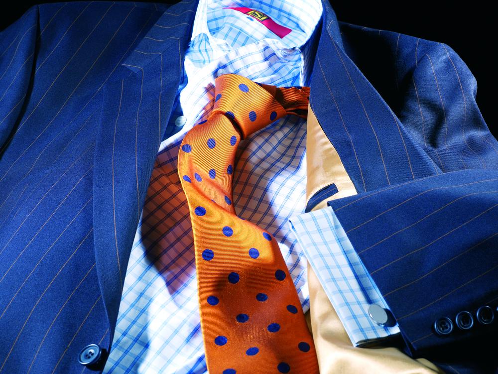 wool-cashmere-navy-beige-stripe-suit-blue-gingham-shirt-gold-spot-tie.jpg