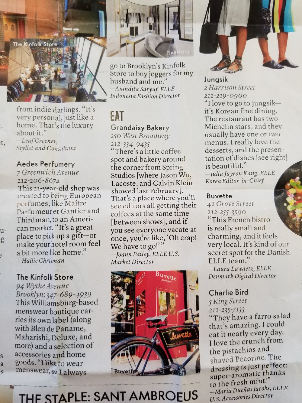 EAT @ GRANDAISY - Our feature in Elle Magazine.