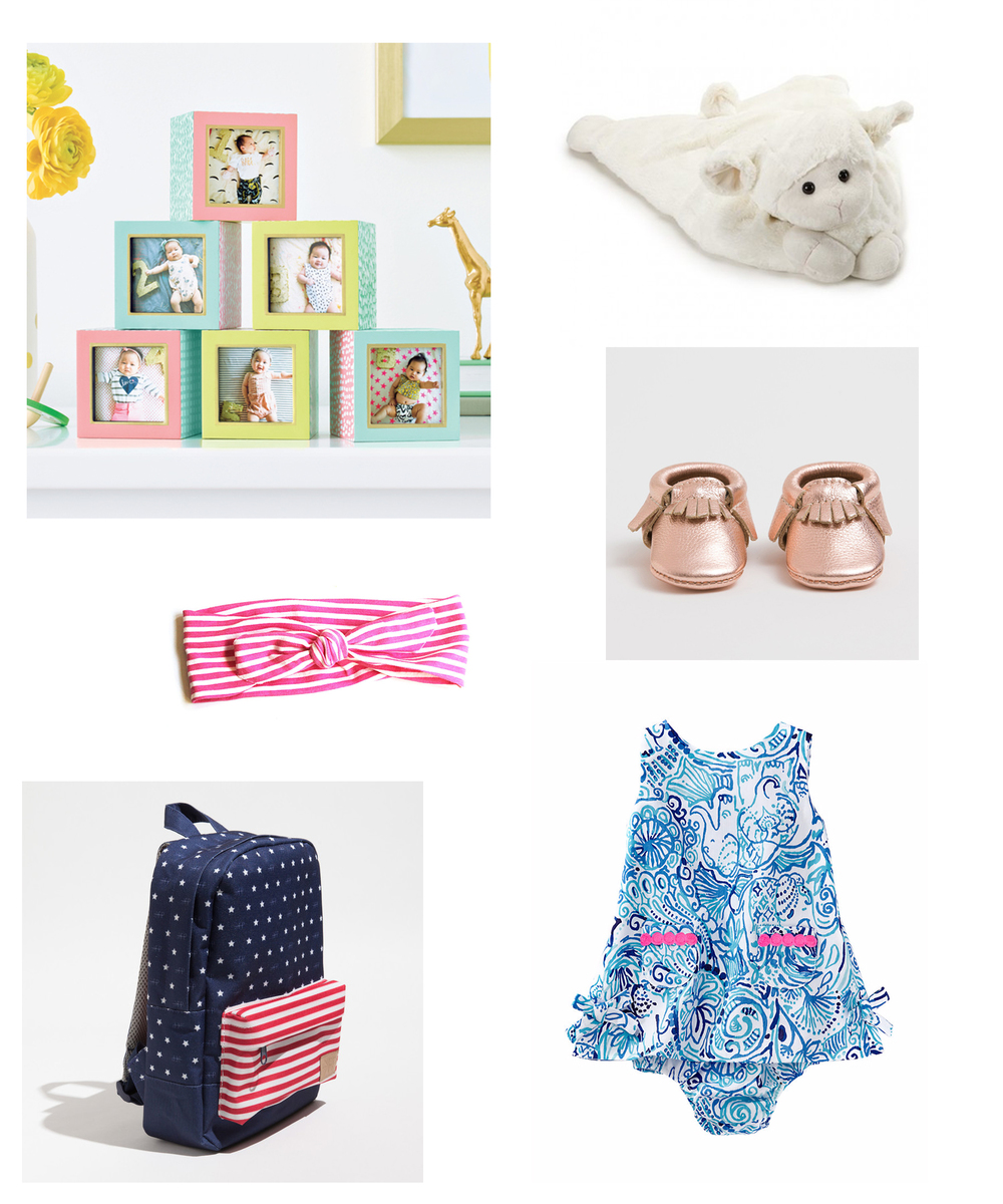 1. Oh Joy for Target collection is seriously some cute stuff. I ended up buying the photo blocks, a crib sheet and the changing pad cover | 2. The Lamb belly time blanket from Baby Braithwaite is crazy soft and cuddly | 3. I am kind of in love with the June & January knotted headbands | 4. and 5. are both from the adorable brand Freshly Picked | 6. All little girls need a little Lily Pulitzer
