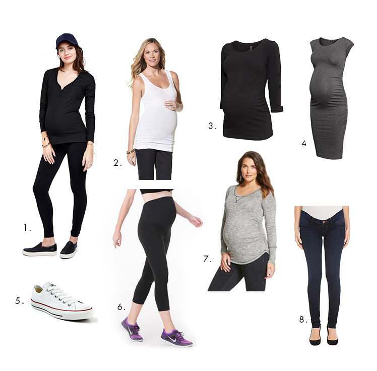 1. Hatch Premium Leggings | 2. Liz Lang for Target maternity tank top | 3. H&M Maternity Mama Jersey Top | 4. H&M Maternity Mama Jersey Dress | 5. Converse Chuck Taylor Classics | 6. Ingrid & Isabel Active Capri with Crossover Panel | 7. Liz Lang for Target Casual Long Sleeved Tee | 8. J Brand Maternity jeans