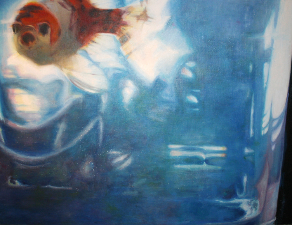 "Goldfish Swimming Left   48""x36"" Oil on canvas $3400"