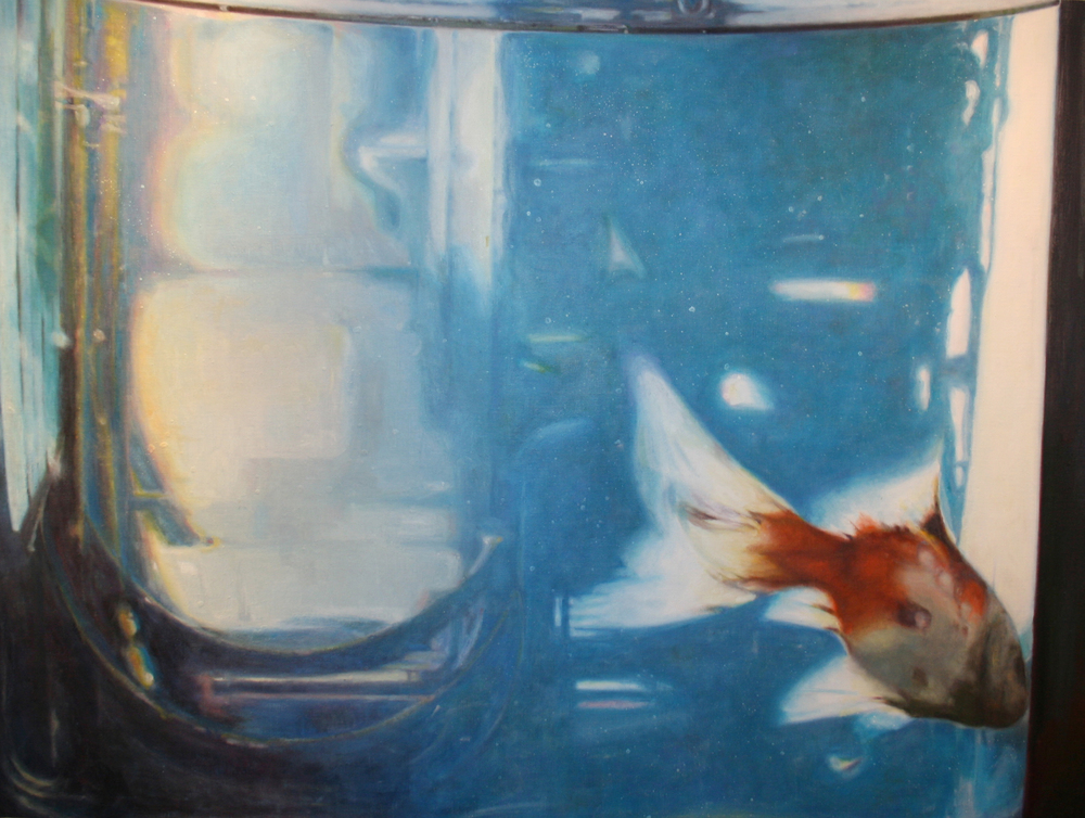 """Goldfish Swimming Right   48""""x36"""" Oil on canvas $3200"""