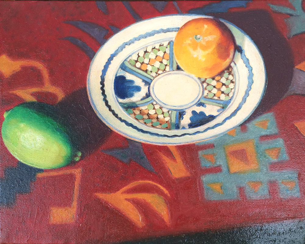 """Lime and Tangerine on Red   10""""x8"""" Oil on canvas $800"""