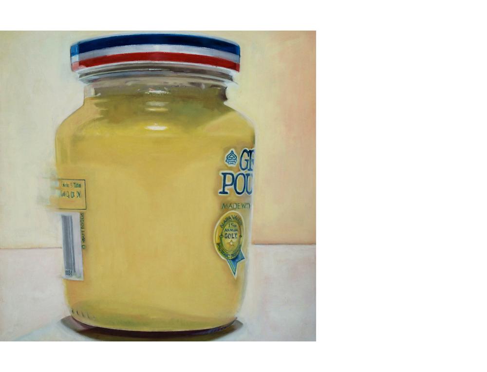 """Dijon Mustard Jar  36""""x36"""" Oil on canvas $3400"""