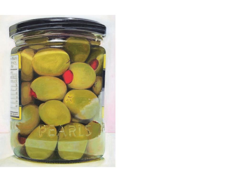 """Pimento-Stuffed Olives Jar   30""""x36"""" Oil on canvas $3800"""