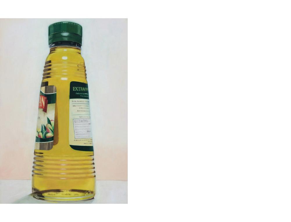 "Olive Oil Bottle   24""x36"" Oil on canvas $3200"