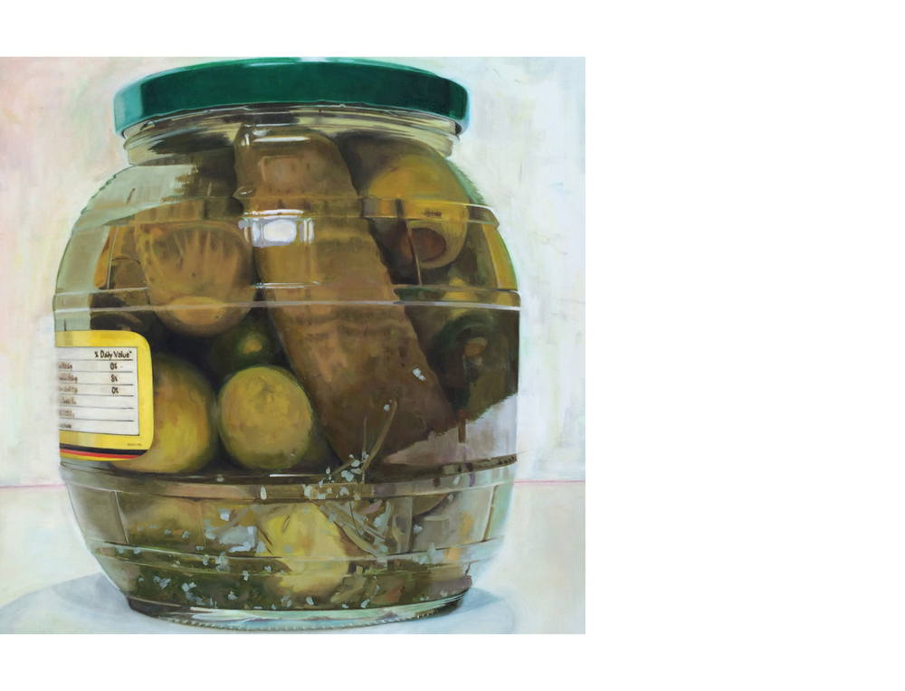 """Dill Pickles Jar / SOLD   30""""x30"""" Oil on canvas $2800"""