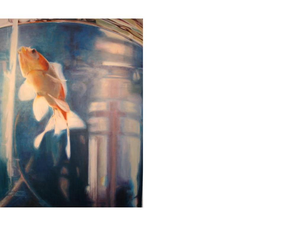 "Goldfish Ascending  36""x48"" Oil on canvas $3800"