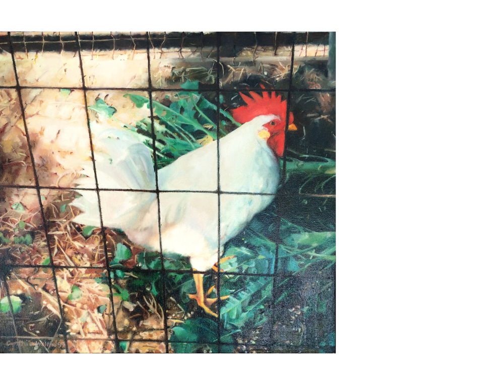 """Chicken and Broccoli / NFS    18""""x17"""" Oil on canvas SOLD"""