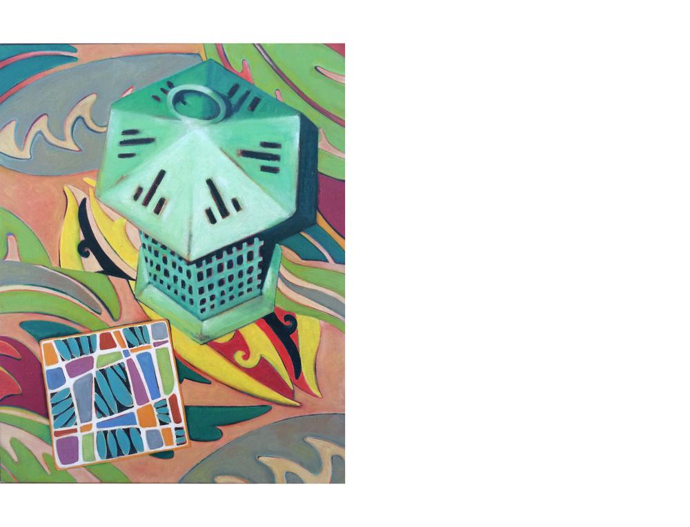 "Patina Lantern Collage   16""x20"" Oil on canvas $800"