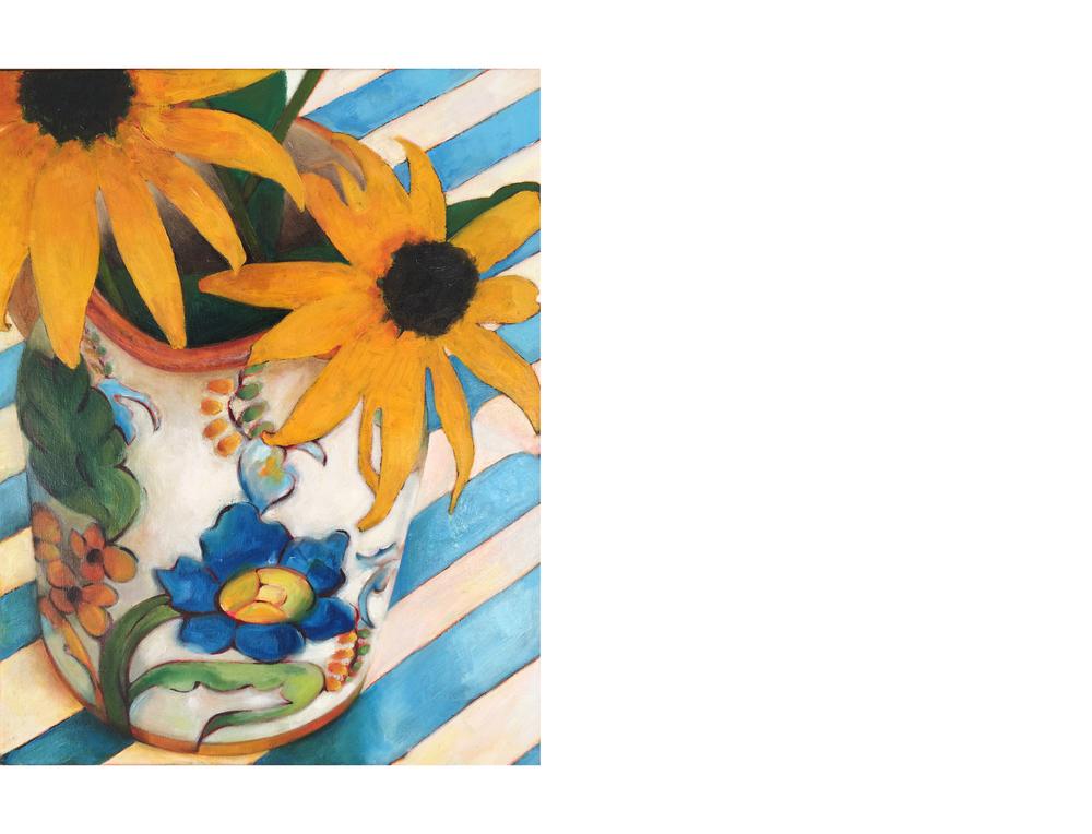 """Rudbeckia on Blue Stripes   16""""x20"""" Oil on canvas $800"""