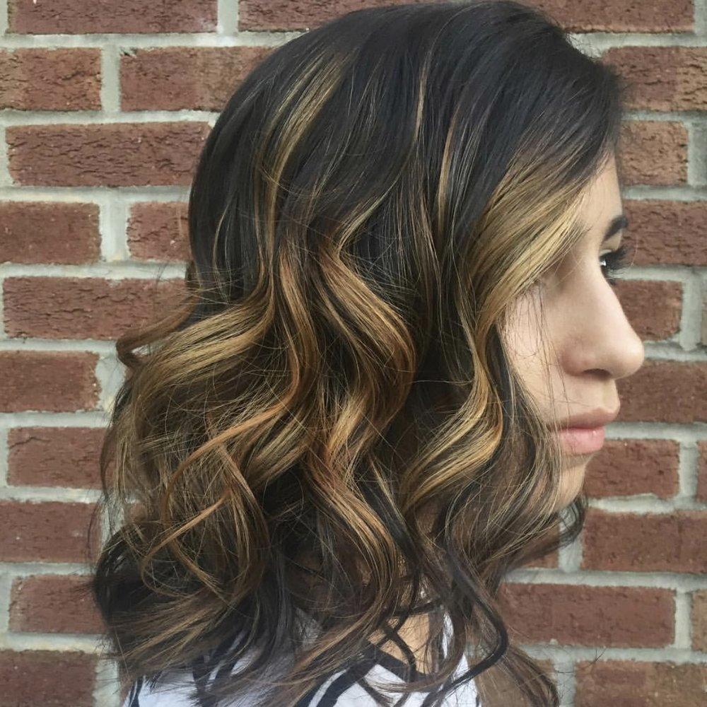 Balayage - $95+. Hand painting technique of hair coloring for blended highlights. Pronounced Bah-Lay-AH-ge