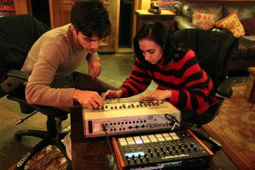 "Nina Diaz and drummer Patricio (""Pato"") Davila work on synth sounds in the studio."