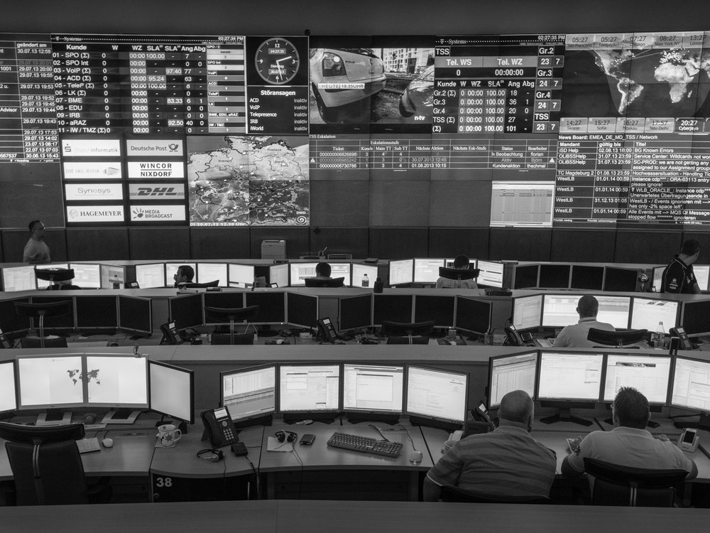 Data Center Control Room LOCATION Magdeburg, Germany Operation engineers oversee the operation of several large data centers for unusual activities, hacking attempts, network failure, and technical faults.