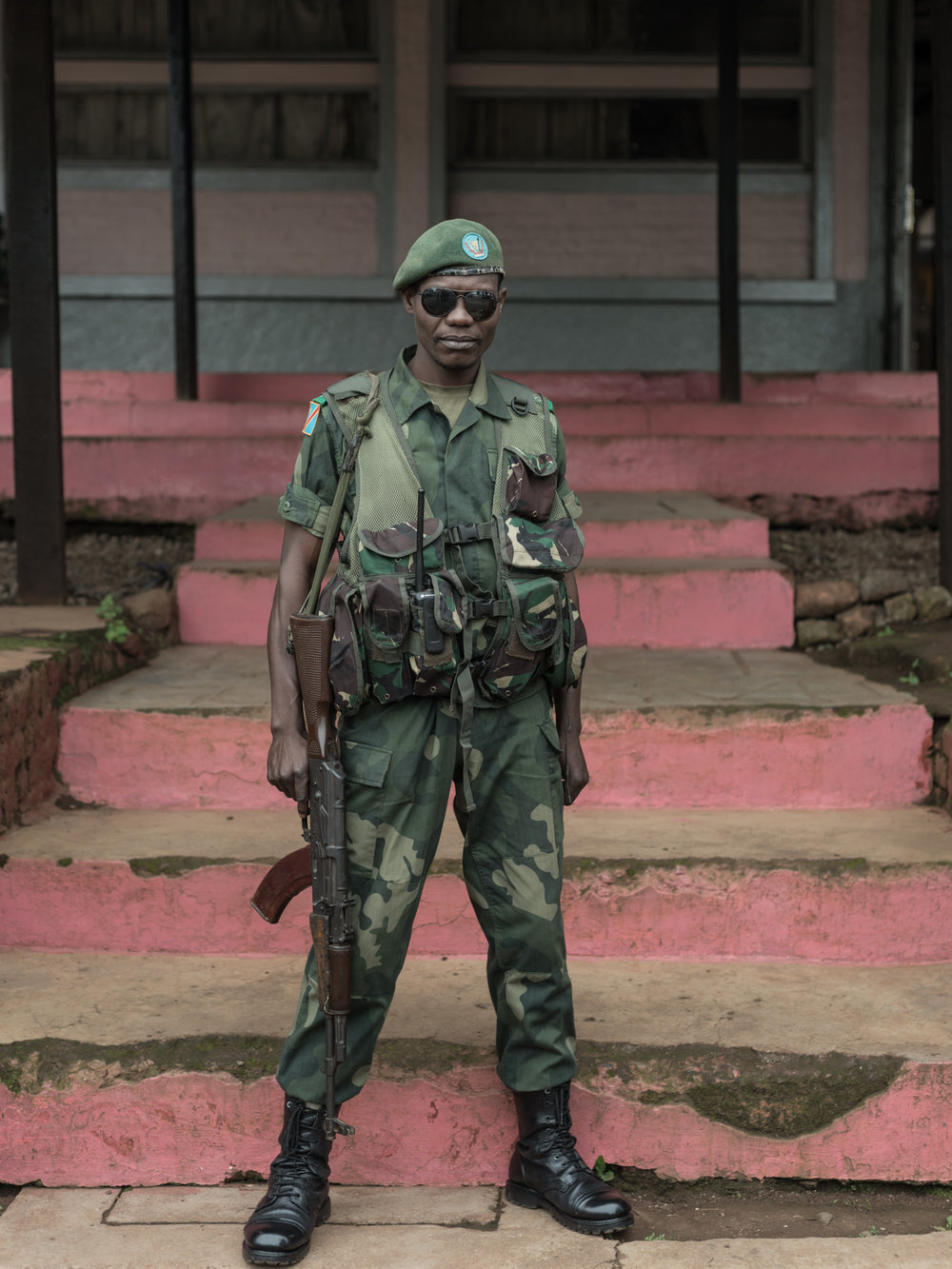 FARDC Fighter LOCATION Bukavu, Democratic Republic of Congo DESCRIPTION Various militias regularly employ slavery, systematic rape, and forced cannibalism as weapons in irregular mines. Regular FARDC fighters are trained by the Archdiocese of Bukavu to counter these severe human rights violations.