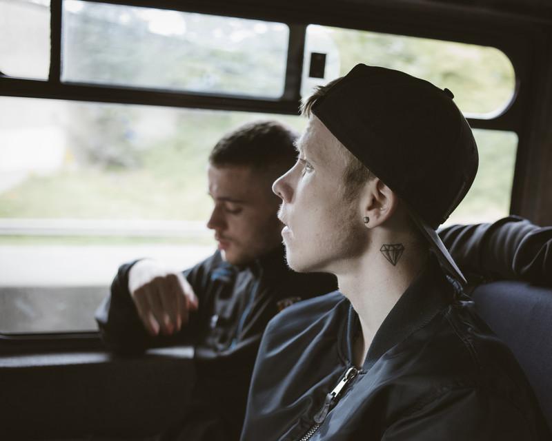 Marc & Leon at the bus, Catholic Irish Republican Newington area, Belfast