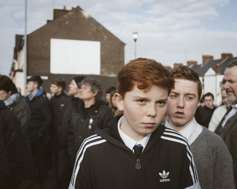 Catholic boys attending the funeral of the former IRA and Sinn Féin leader Martin McGuinness, Derry