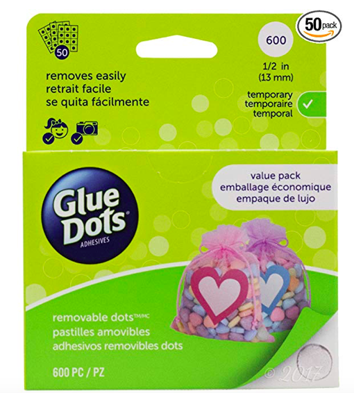 ZOTS: glue dots  that are perfect for sticking crayons to yardstick