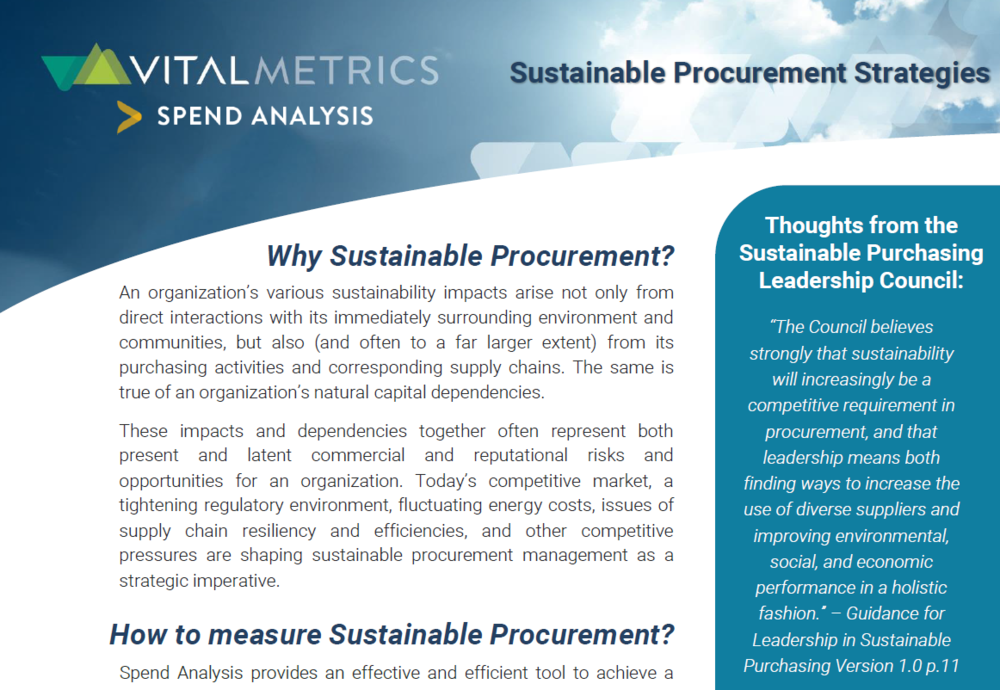 Brochure:  Sustainable Procurement Strategies