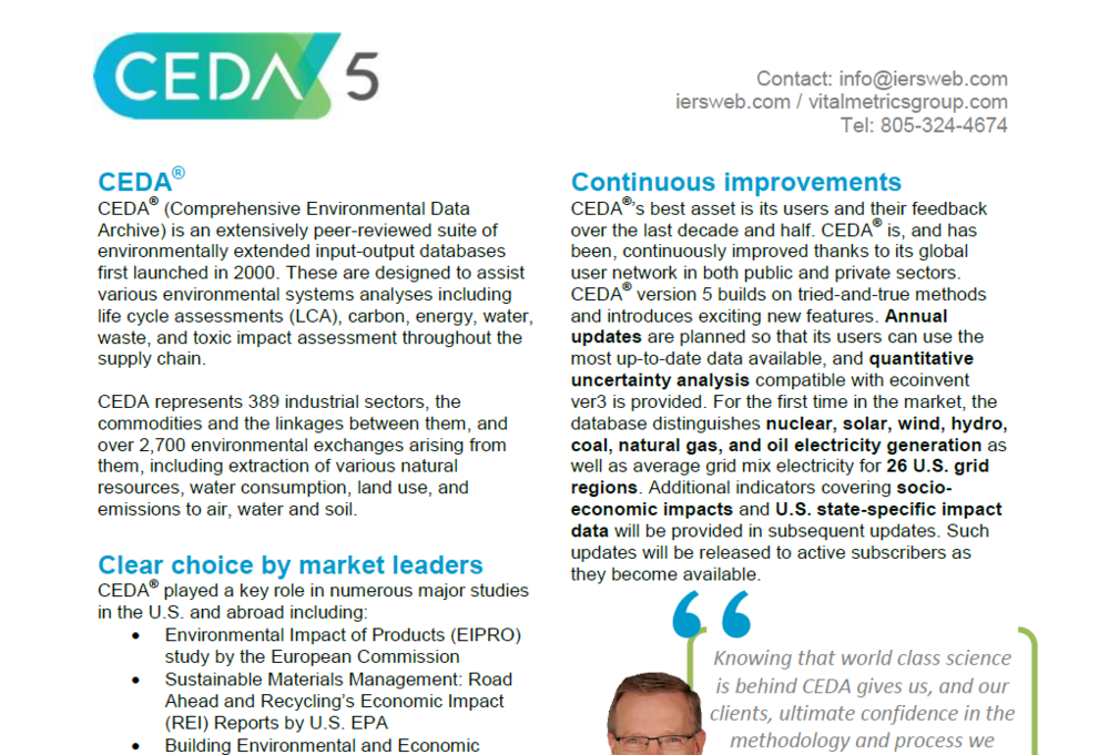 BROCHURE : Comprehensive Environmental Data Archive (CEDA 5)